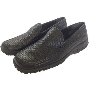Cole Haan Country Black Leather Woven Loafers